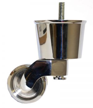 Chrome Castor Round Cup Extra Large with Threaded Bolt