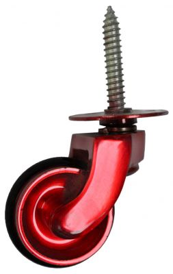 Red Screw Castor with Rubber Wheel 32mm